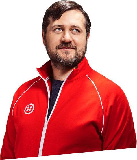 Man in red track jacket